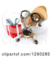 Clipart Of A 3d Bespectacled Business Squirrel Holding Up A Gift Royalty Free Illustration