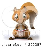 Clipart Of A 3d Squirrel Reading A Book Royalty Free Illustration