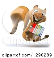 Clipart Of A 3d Squirrel Jumping And Holding Books Royalty Free Illustration