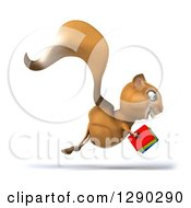 Clipart Of A 3d Squirrel Hopping To The Right And Holding Books Royalty Free Illustration