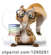 Clipart Of A 3d Bespectacled Squirrel Holding A Stack Of Books Royalty Free Illustration