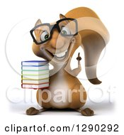 Clipart Of A 3d Bespectacled Squirrel Holding Up A Finger And A Stack Of Books Royalty Free Illustration