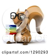 Clipart Of A 3d Bespectacled Squirrel Facing Left And Holding A Stack Of Books Royalty Free Illustration