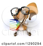 Clipart Of A 3d Bespectacled Squirrel Holding Up A Stack Of Books And A Thumb Royalty Free Illustration