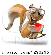 Clipart Of A 3d Bespectacled Squirrel Facing Right Jumping And Holding Books Royalty Free Illustration
