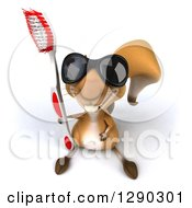 Clipart Of A 3d Happy Squirrel Wearing Sunglasses Looking Up And Holding A Toothbrush Royalty Free Illustration