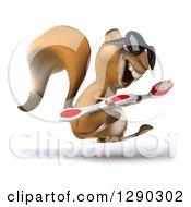 Clipart Of A 3d Happy Squirrel Wearing Sunglasses Facing Right And Hopping With A Toothbrush Royalty Free Illustration