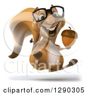 Clipart Of A 3d Happy Bespectacled Squirrel Hopping Giving A Thumb Up And Holding An Acorn Royalty Free Illustration