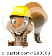 Clipart Of A 3d Happy Contractor Squirrel Wearing A Hardhat And Giving A Thumb Up Over A Sign Royalty Free Illustration by Julos