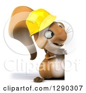 Clipart Of A 3d Full Length Happy Contractor Squirrel Wearing A Hardhat And Pointing Around A Sign Royalty Free Illustration by Julos