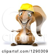 Clipart Of A 3d Happy Contractor Squirrel Wearing A Hardhat And Presenting To The Left Royalty Free Illustration by Julos