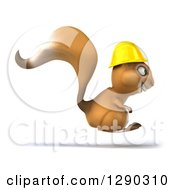 Clipart Of A 3d Happy Contractor Squirrel Wearing A Hardhat And Hopping To The Right Royalty Free Illustration by Julos