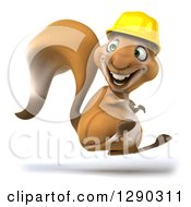 Clipart Of A 3d Happy Contractor Squirrel Wearing A Hardhat And Jumping And Facing To The Left Royalty Free Illustration