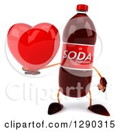 Clipart Of A 3d Soda Bottle Character Holding A Heart Royalty Free Illustration