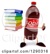Clipart Of A 3d Soda Bottle Character Holding A Thumb Up And A Stack Of Books Royalty Free Illustration