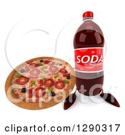 Clipart Of A 3d Soda Bottle Character Holding Up A Pizza Royalty Free Illustration