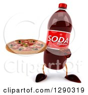 3d Soda Bottle Character Holding And Pointing To A Pizza