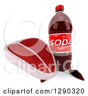 Clipart Of A 3d Soda Bottle Character Holding Up A Beef Steak Royalty Free Illustration