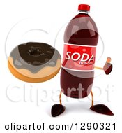 Clipart Of A 3d Soda Bottle Character Holding A Thumb Up And A Chocolate Frosted Donut Royalty Free Illustration