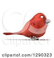 Clipart Of A 3d Red Bird Walking To The Right Royalty Free Illustration