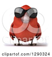 Clipart Of A 3d Red Bird Wearing Shades Royalty Free Illustration