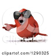 Clipart Of A 3d Red Bird Wearing Shades And Presenting Royalty Free Illustration
