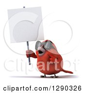 Clipart Of A 3d Red Bird Wearing Shades Holding And Pointing To A Blank Sign Royalty Free Illustration