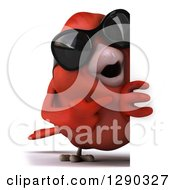 Clipart Of A 3d Full Length Red Bird Wearing Shades And Pointing Around A Sign Royalty Free Illustration