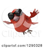 Clipart Of A 3d Red Bird Wearing Shades And Flying Royalty Free Illustration