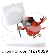 Clipart Of A 3d Red Bird Wearing Shades And Flying With A Blank Sign Royalty Free Illustration
