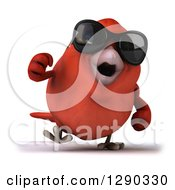 Clipart Of A 3d Red Bird Wearing Shades And Walking Royalty Free Illustration