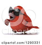 Clipart Of A 3d Red Bird Wearing Shades And Walking To The Left Royalty Free Illustration