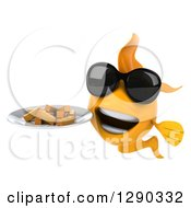 3d Happy Yellow Fish Wearing Sunglasses And Holding A Plate Of French Fries
