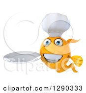 3d Happy Yellow Fish Chef Holding A Clean Plate