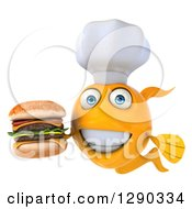 3d Happy Yellow Fish Chef Holding A Double Cheeseburger