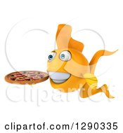 3d Happy Yellow Fish Facing Left And Holding A Pizza
