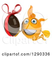 Clipart Of A 3d Happy Yellow Fish Holding A Chocolate Easter Egg Royalty Free Illustration