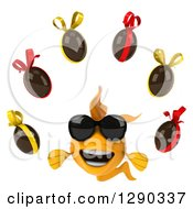 3d Happy Yellow Fish Wearing Sunglasses And Juggling Chocolate Easter Eggs