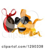 Clipart Of A 3d Happy Yellow Fish Wearing Sunglasses Facing Left And Holding A Chocolate Easter Egg Royalty Free Illustration