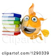 3d Goldfish With A Stack Of Books