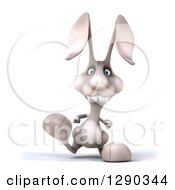 Clipart Of A 3d White Bunny Rabbit Walking Royalty Free Illustration by Julos