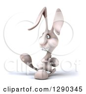 Clipart Of A 3d White Bunny Rabbit Walking To The Left Royalty Free Illustration by Julos
