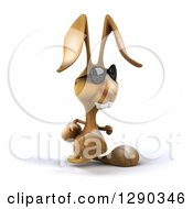 Clipart Of A 3d Brown Bunny Rabbit Wearing Sunglasses And Walking To The Right Royalty Free Illustration by Julos