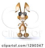Clipart Of A 3d Brown Bunny Rabbit Wearing Sunglasses And Hopping Royalty Free Illustration by Julos