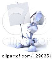 Clipart Of A 3d Blue Bunny Rabbit Chef Holding And Pointing To A Blank Sign Royalty Free Illustration by Julos