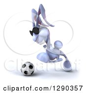 Clipart Of A 3d Blue Bunny Rabbit Wearing Sunglasses And Running With A Soccer Ball To The Left Royalty Free Illustration by Julos