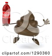 Clipart Of A 3d Milk Chocolate Or Poop Character Jumping And Holding A Soda Bottle Royalty Free Illustration