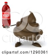 Clipart Of A 3d Milk Chocolate Or Poop Character Holding And Pointing To A Soda Bottle Royalty Free Illustration