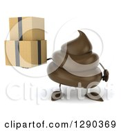 Clipart Of A 3d Milk Chocolate Or Poop Character Holding Boxes Royalty Free Illustration