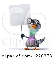 Clipart Of A 3d Happy Bespectacled Pigeon Holding Up A Blank Sign Royalty Free Illustration